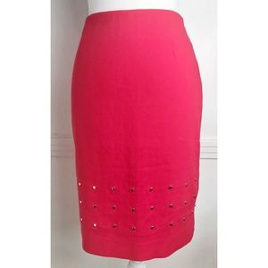 Escada • Red Poopy Studded Pencil Skirt